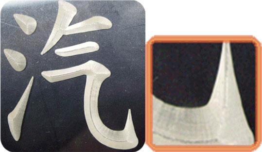 壓克力倒角三角錐刀雕刻字體為汽字整體表現